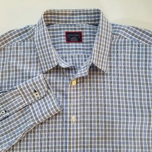 UNTUCKit Blue White Plaid Button Shirt Mens Large